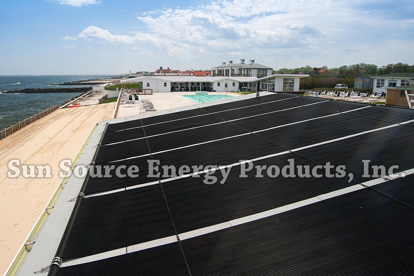 Solar Industries solar pool heating system on Ocean Beach Club, Elberon, NJ